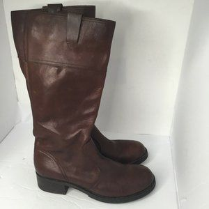 Womens Brown Leather Mid-Calf Zipper Boots Shoes
